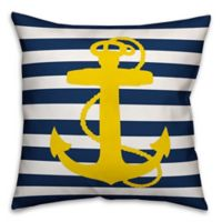 Designs Direct Yellow Anchor Square Outdoor Throw Pillow in Navy/White Stripe