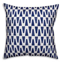 Designs Direct Watercolor Diamonds Square Outdoor Throw Pillow in Navy/White