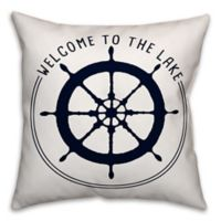 "Designs Direct ""Welcome to the Lake"" Square Outdoor Throw Pillow"