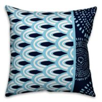 Designs Direct Scallops Square Outdoor Throw Pillow in Blue/White