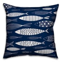 Designs Direct School of Fish Square Outdoor Throw Pillow in Navy/White