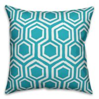 Designs Direct Hexagons Square Outdoor Throw Pillow in Teal/White