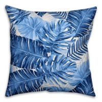 Designs Direct Watercolor Fronds Square Outdoor Throw Pillow in Blue/White