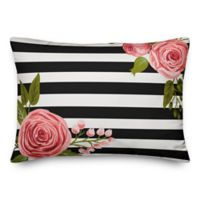 Designs Direct Mod Stripes Oblong Outdoor Throw Pillow in Black/White