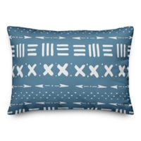Designs Direct Tribal Oblong Outdoor Throw Pillow in Cool Blue/White
