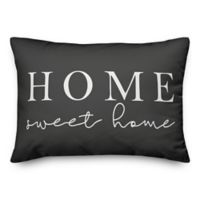 """Designs Direct """"Home Sweet Home"""" Oblong Outdoor Throw Pillow in GreyWhite"""
