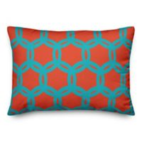 Designs Direct Geo Oblong Outdoor Throw Pillow in Orange/Teal