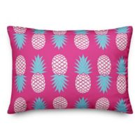 Designs Direct Pineapples Oblong Outdoor Throw Pillow in Pink/Blue