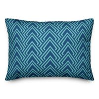 Designs Direct Diamond Indoor/Outdoor Oblong Throw Pillow in Teal/Blue