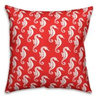 Designs Direct Seahorse Indoor/Outdoor Square Throw Pillow in White/Coral