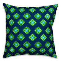 Designs Direct Peacock Floral Indoor/Outdoor Square Throw Pillow in Blue