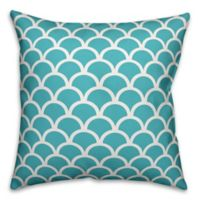 Designs Direct Scallop Indoor/Outdoor Square Throw Pillow in Blue