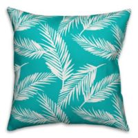 Designs Direct Palms Indoor/Outdoor Square Throw Pillow in Teal/White