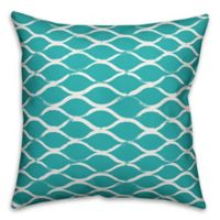 Designs Direct Netting Indoor/Outdoor Square Throw Pillow in Teal/White