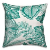Designs Direct Palm Fronds Indoor/Outdoor Square Throw Pillow in Teal/White