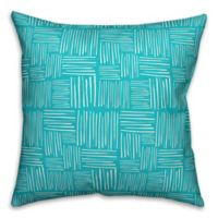 Designs Direct Crosshatch Indoor/Outdoor Square Throw Pillow in Teal/White