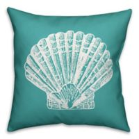 Designs Direct Sea Shell Indoor/Outdoor Square Throw Pillow in Teal