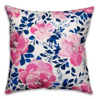 Designs Direct Florals Indoor/Outdoor Square Throw Pillow in Pink/Blue