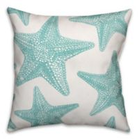 Designs Direct Starfish Indoor/Outdoor Square Throw Pillow in Teal