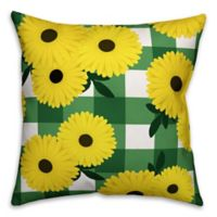 Designs Direct Daisy Buffalo Check Indoor/Outdoor Square Throw Pillow in Yellow