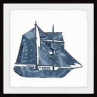 Marmont Hill Blue Sailboat 18-Inch Square Framed Wall Art