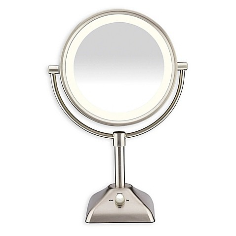 buy conair 174 variable lighted 1x 10x mirror in satin nickel 85748