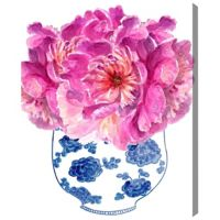 Oliver Gal Morning Peonies 13-Inch x 16-Inch Canvas Wall Art