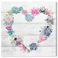 Oliver Gal Succulent Love 12-Inch Square Canvas Wall Art