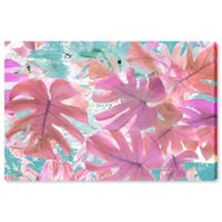 Olive Gal Vivid Leaves 16-Inch x 12-Inch Canvas Wall Art in Pink