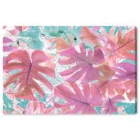 Olive Gal Vivid Leaves 24-Inch x 32-Inch Canvas Wall Art in Pink