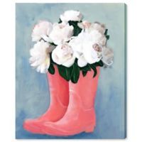 Oliver Gal Peonies and Rainboots 13-Inch x 16-Inch Canvas Wall Art