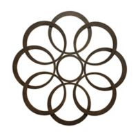 Fetco Home Décor Sarah Abstract Circles 24-Inch Square Metal Wall Art