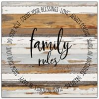 "Sweet Bird & Co. ""Family Rules"" 24-Inch Square Wood Wall Art"