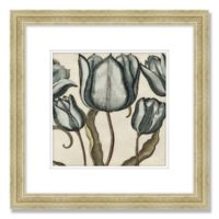 Vintage Floral Print 19-Inch Square Framed Wall Art