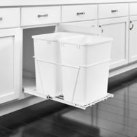 Rev A Shelf Double 35 Qt Pullout Waste Containers In White