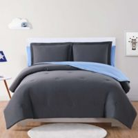 My World Solid Jersey Twin XL Comforter Set in Charcoal/Blue