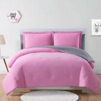 Laura Hart Kids Solid Jersey Twin Comforter Set in Pink/Grey