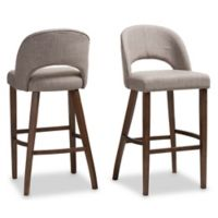 "Baxton Studio Rubberwood Upholstered Melrose 30"" Bar Stool in Light Grey"