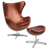 Flash Furniture Faux Leather Swivel Melrose Ottoman in Copper