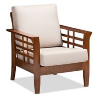Baxton Studio Linen Upholstered Larissa Chair in Taupe/red