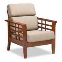 Baxton Studio Linen Upholstered Larissa Chair in Red/beige