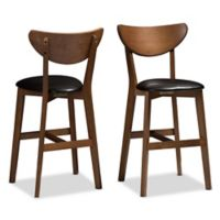 "Baxton Studio® Faux Leather Upholstered Eline 24"" Bar Stool in Black/walnut"