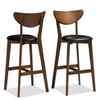 "Baxton Studio® Faux Leather Upholstered Eline 29"" Bar Stool in Black/walnut"