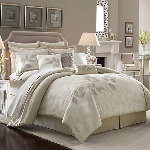 Lenox platinum leaf comforter set bed bath beyond - Bed bath and beyond bedroom furniture ...