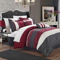 Chic Home Abilene 10-Piece King Comforter Set in Burgundy