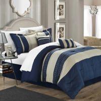 Chic Home Abilene 10-Piece Queen Comforter Set in Navy