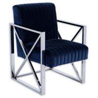 Southern Enterprises Ellison Velveteen Accent Chair in Deep Blue