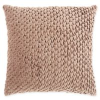 Mina Victory By Nourison Pleated Velvet Square Throw Pillow in Nude