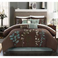 Chic Home Nayo 12-Piece Queen Comforter Set in Brown