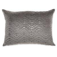 Mina Victory By Nourison Luminecence Metallic Diamonds Oblong Throw Pillow in Dark Grey